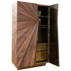 Walnut Modern Cabinet, Shinning Interior, Handmade, Unique Woodwork