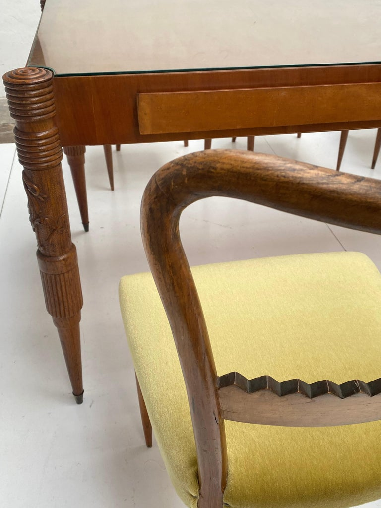 Walnut & Mohair Dining Set by Pier Luigi Colli for Fratelli Marelli, Italy, 1950 For Sale 7