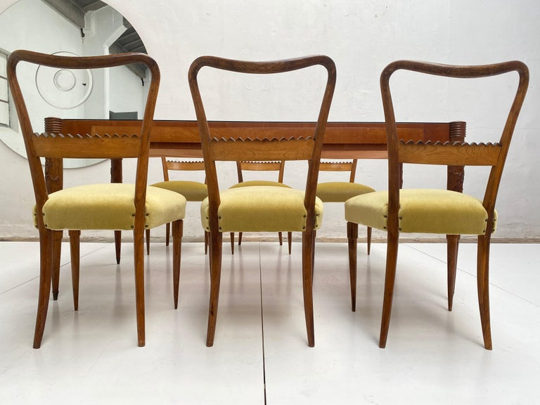 Walnut & Mohair Dining Set by Pier Luigi Colli for Fratelli Marelli, Italy, 1950 In Fair Condition For Sale In bergen op zoom, NL