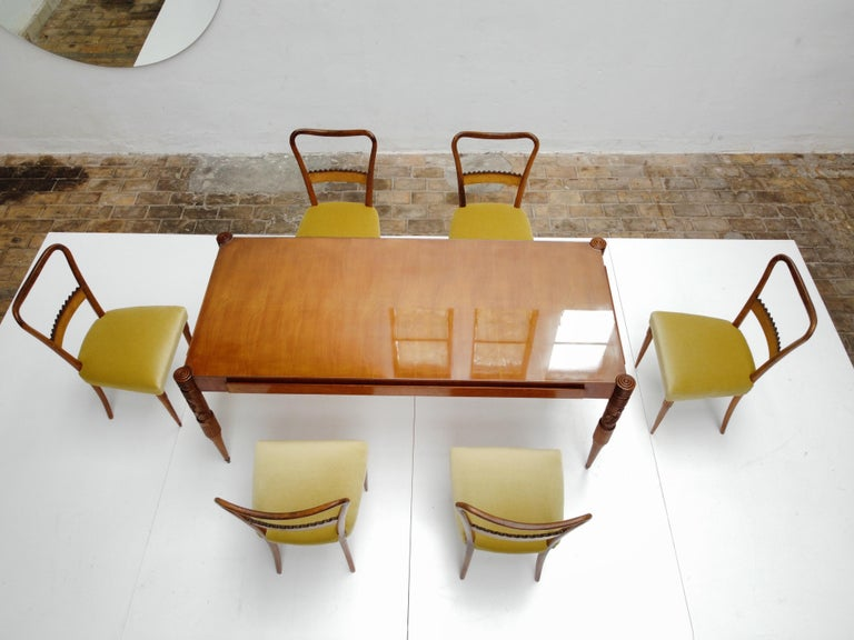 Rattan Walnut & Mohair Dining Set by Pier Luigi Colli for Fratelli Marelli, Italy, 1950 For Sale