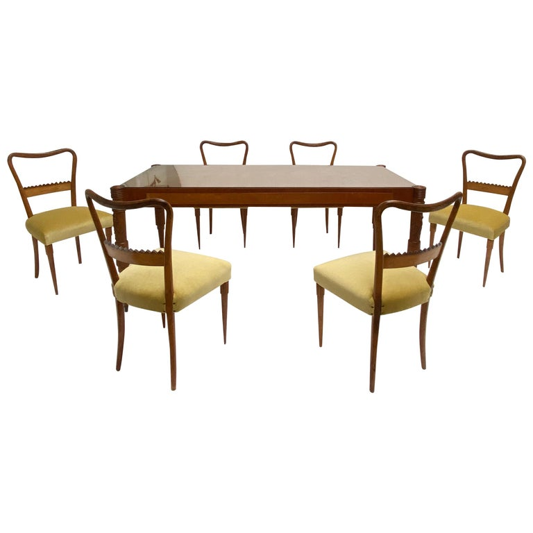 Walnut & Mohair Dining Set by Pier Luigi Colli for Fratelli Marelli, Italy, 1950 For Sale