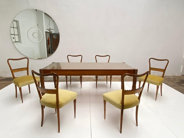 Italian Walnut & Mohair Dining Set by Pier Luigi Colli for Fratelli Marelli, Italy, 1950 For Sale