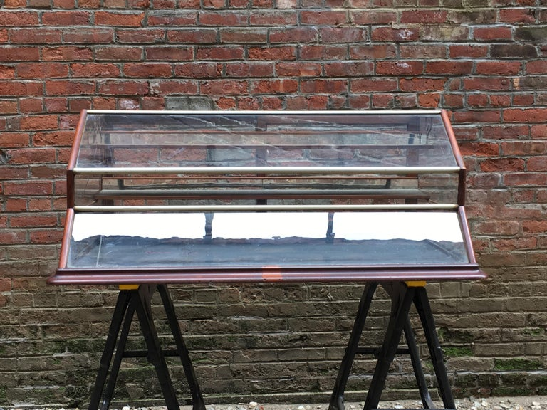 Walnut, Nickel, Glass and Leather General Store Showcase For Sale 4