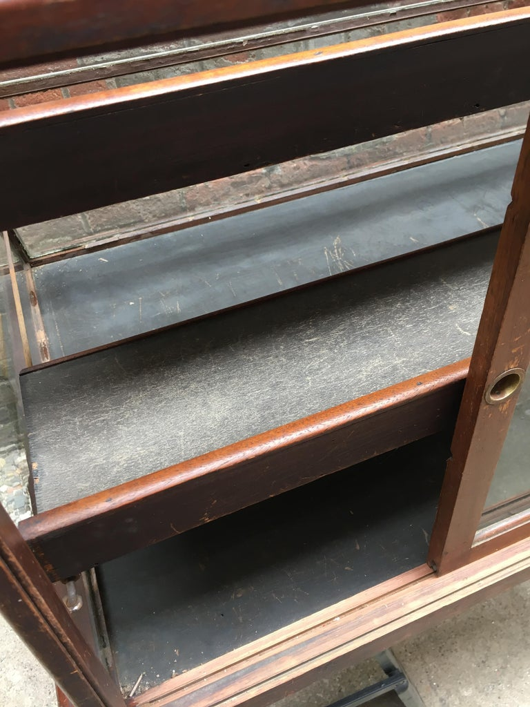 Walnut, Nickel, Glass and Leather General Store Showcase For Sale 12