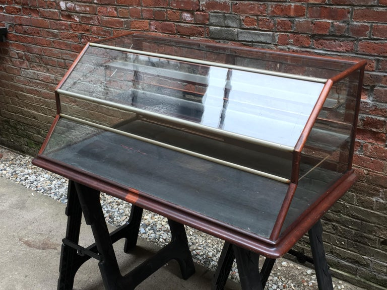 Late Victorian Walnut, Nickel, Glass and Leather General Store Showcase For Sale