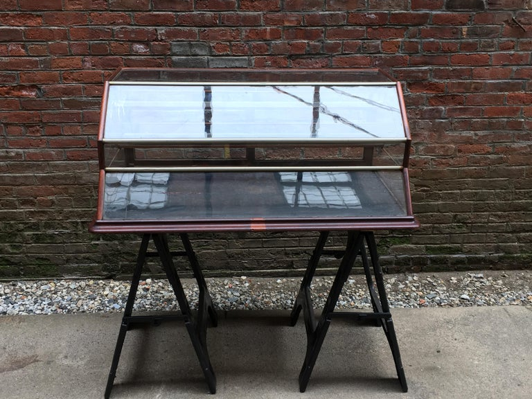American Walnut, Nickel, Glass and Leather General Store Showcase For Sale