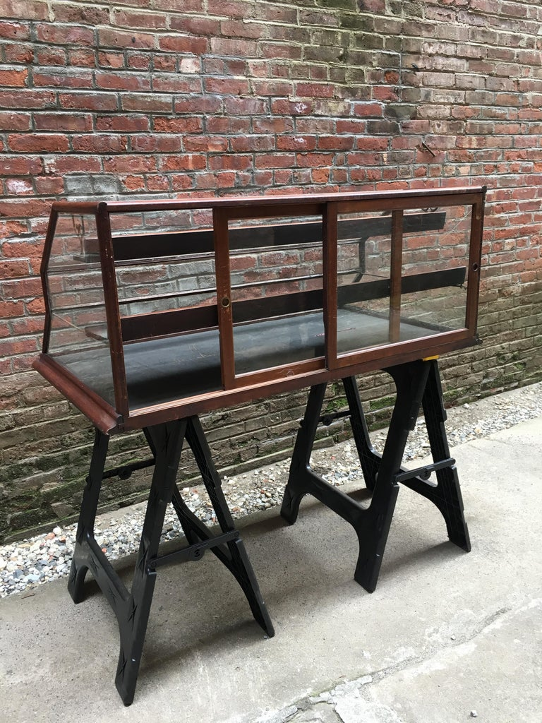 Walnut, Nickel, Glass and Leather General Store Showcase For Sale 3