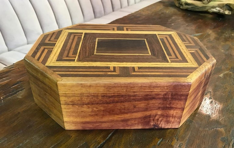 Walnut, Oak, Koa, Mahogany, Brazilian Rosewood Inlaid Octagonal Sided Box For Sale 4