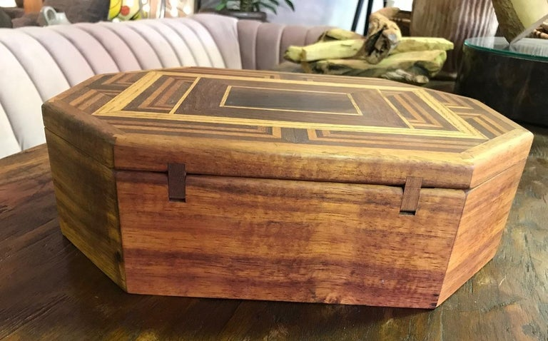 Modern Walnut, Oak, Koa, Mahogany, Brazilian Rosewood Inlaid Octagonal Sided Box For Sale