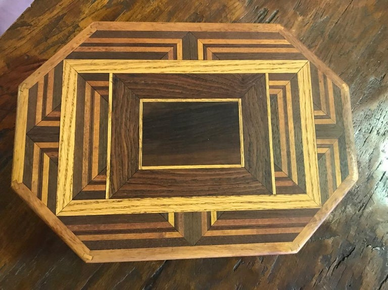 Hand-Crafted Walnut, Oak, Koa, Mahogany, Brazilian Rosewood Inlaid Octagonal Sided Box For Sale