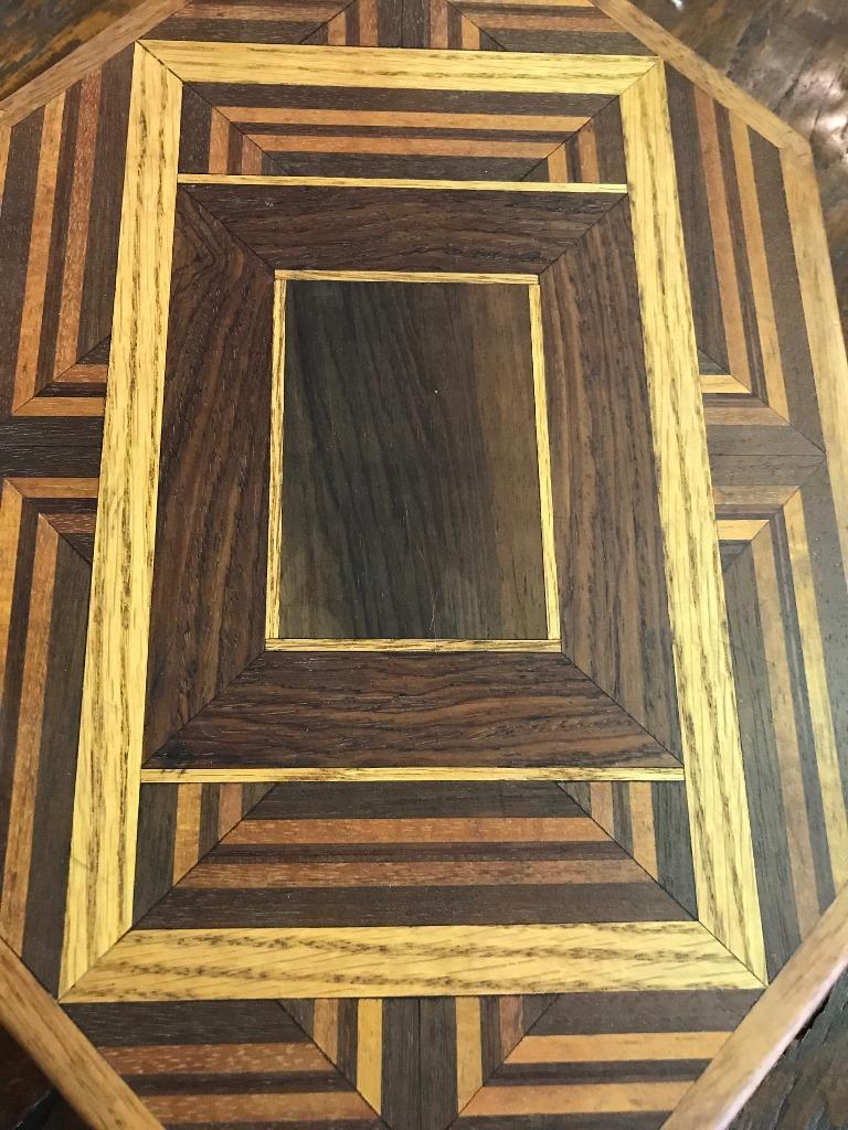20th Century Walnut, Oak, Koa, Mahogany, Brazilian Rosewood Inlaid Octagonal Sided Box For Sale