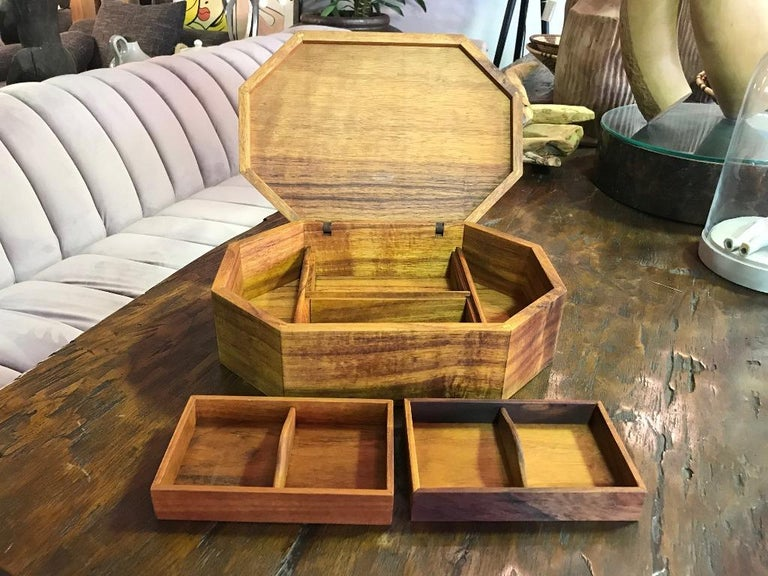 Walnut, Oak, Koa, Mahogany, Brazilian Rosewood Inlaid Octagonal Sided Box For Sale 3