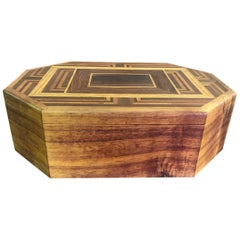 Walnut, Oak, Koa, Mahogany, Brazilian Rosewood Inlaid Octagonal Sided Box