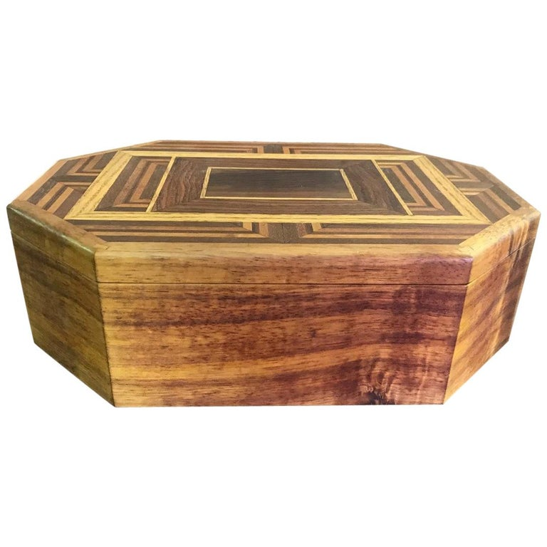 Walnut, Oak, Koa, Mahogany, Brazilian Rosewood Inlaid Octagonal Sided Box For Sale