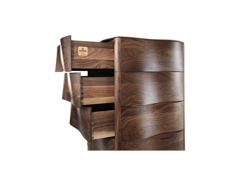 Chiffonier chest of drawers commode dresser with exterior in solid wood and interior in natural veneered mdf. Possible to choose among oak or walnut wood . Base made of iron with matte electrostatic paint. Packed in a plywood box for shipping