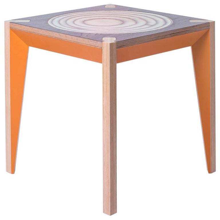 Walnut Orange MiMi Stool (set of 2) by Miduny, Made in Italy For Sale