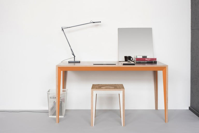 Modern Walnut Orange MiMi Table by Miduny, Made in Italy For Sale