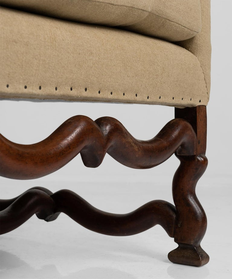 18th Century and Earlier Walnut Os de Mouton Sofa For Sale
