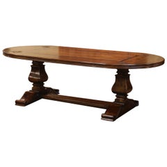 Walnut Oval Trestle Dining Room Table with Inlay Decor and Fleur-de-Lis