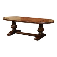 Walnut Oval Trestle Dining Room Table with Inlay Decor and Fleurs De Lys