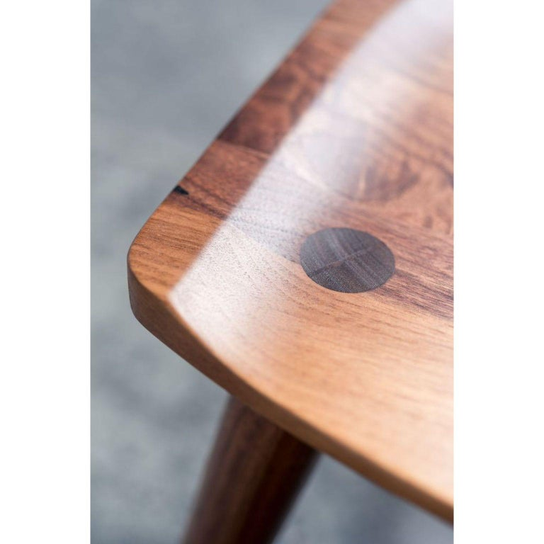 Modern Walnut Oxbend Bench by Fernweh Woodworking For Sale