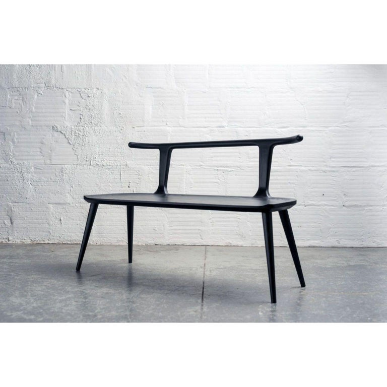 Contemporary Walnut Oxbend Bench by Fernweh Woodworking For Sale