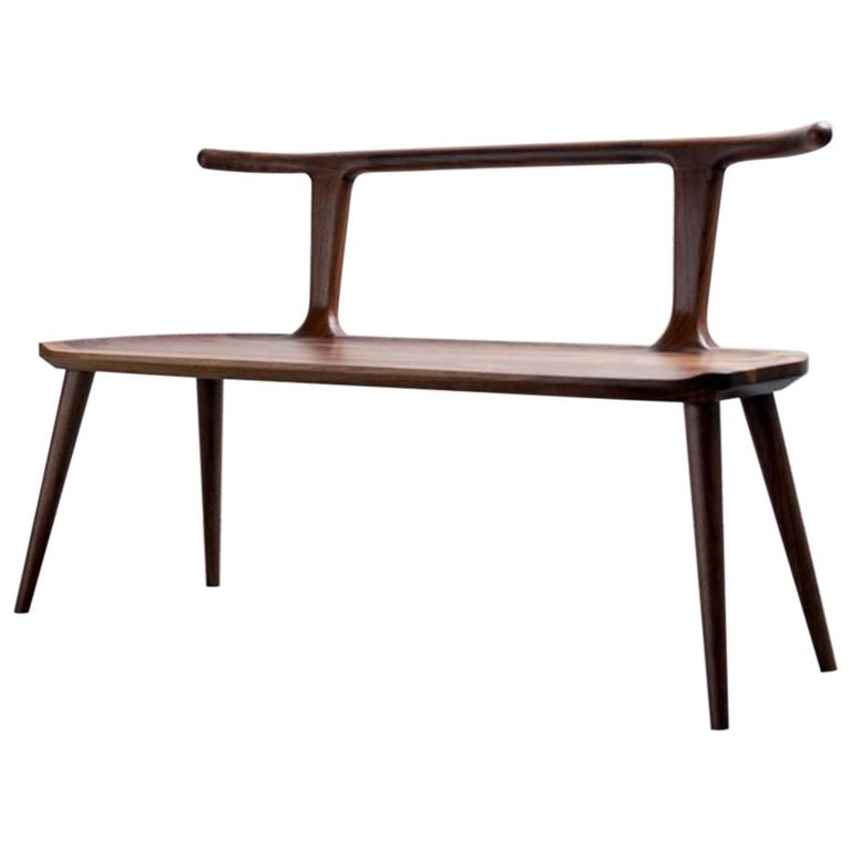 Walnut Oxbend Bench by Fernweh Woodworking For Sale