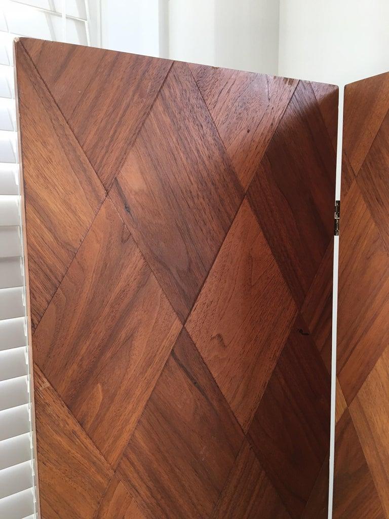 Walnut Parquet 3-Panel Screen For Sale 3