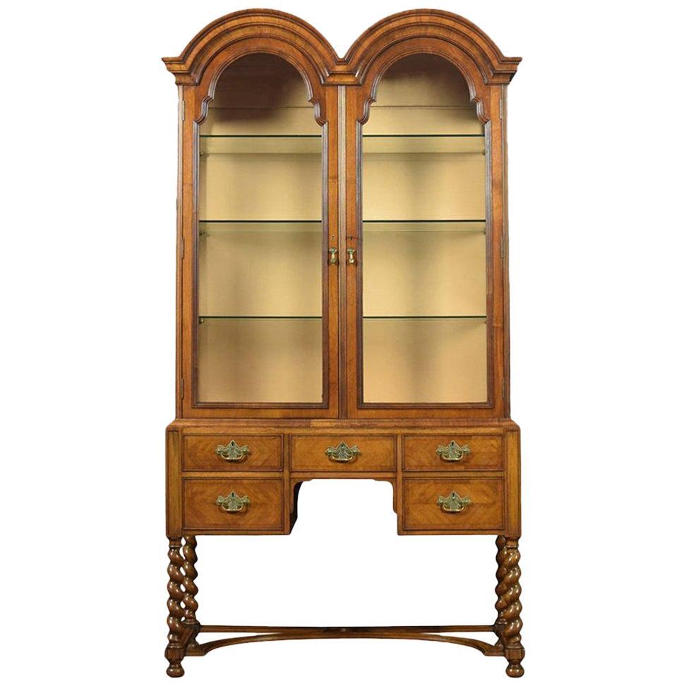 Walnut Queen Ann Style Display Cabinet