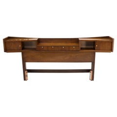 Walnut Queen Size Headboard w/ Concave Storage Cabinets w/ Sliding Doors