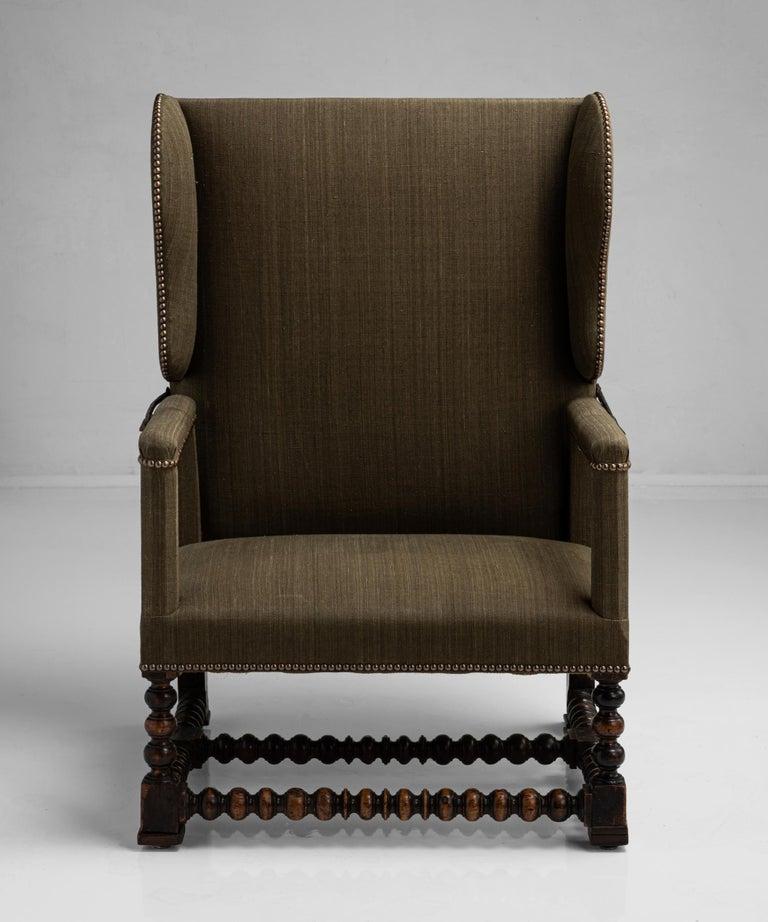 Metal Walnut Reclining Armchair, France circa 1780 For Sale