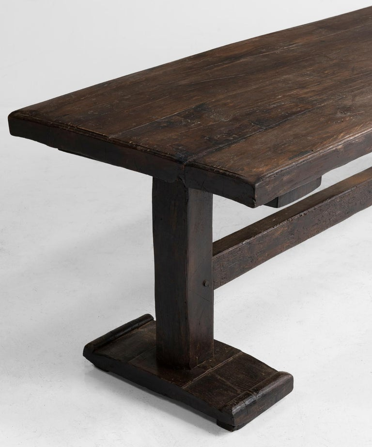 Walnut Refectory Table In Good Condition For Sale In Culver City, CA