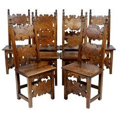 Walnut Renaissance Dining Chairs, Italian