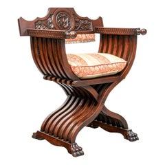 Walnut Renaissance Revival Folding Savonarola or Faldstool Chair