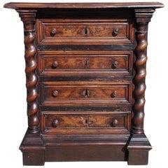 Walnut Rococo Decorative Carved Barley Twist Step Back Cuboard, Circa 1750