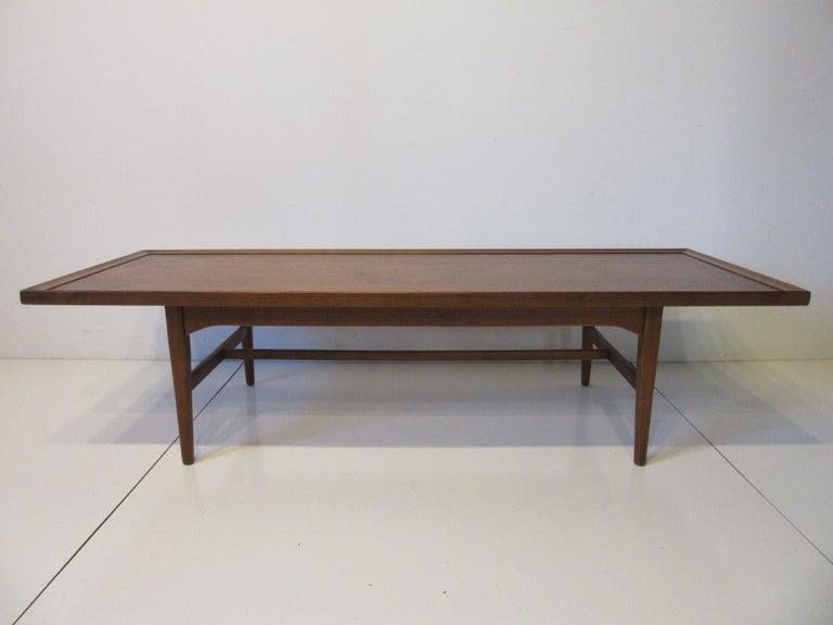 Mid-Century Modern Walnut Rosewood Coffee Table by Kipp Stewart for Drexel Declaration  For Sale
