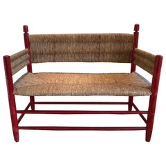 Walnut Rush Seat Bench