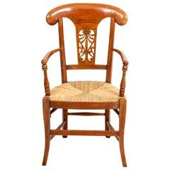 Walnut Rush Seat Open Armchair