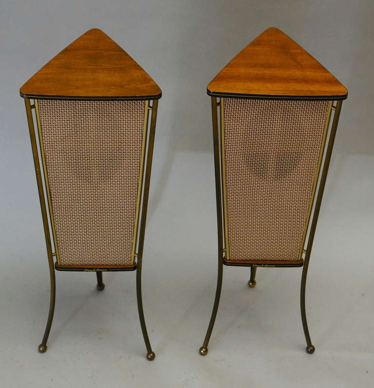 Pair of 1960s walnut Schaub Lorenz end table speakers. Germany 1950s.