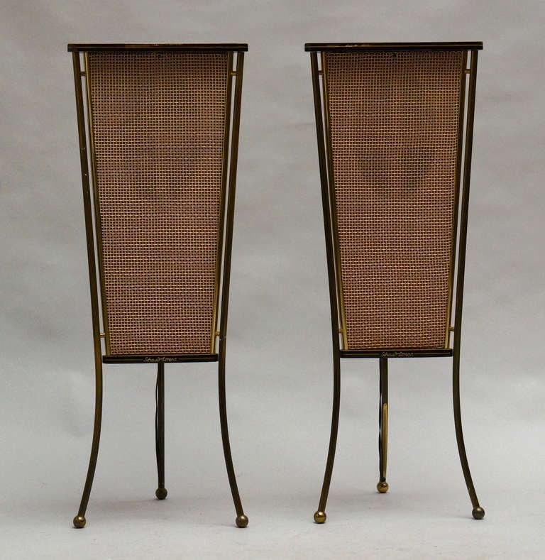 Mid-Century Modern Walnut Schaub Lorenz End Table Speakers For Sale
