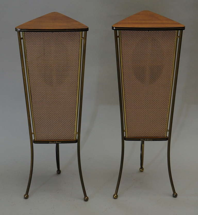 German Walnut Schaub Lorenz End Table Speakers For Sale
