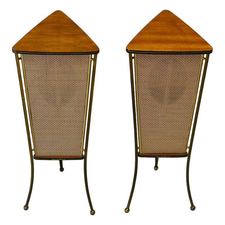 Walnut Schaub Lorenz End Table Speakers For Sale