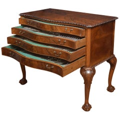 Walnut Serpentine Fronted Canteen of Cutlery