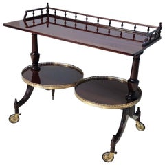 Wood Serving Cart or Console Table with Two Sliding Shelves, Italy