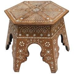 Walnut Side Table with Bone Inlays, circa 1900