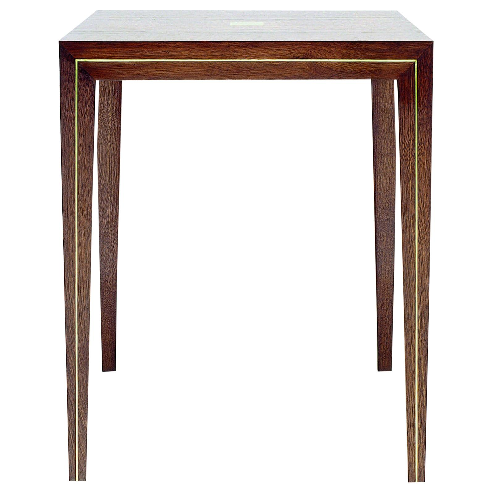 Walnut Side Table with Brass or Aluminum Inlay Detail