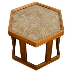 Walnut Side Table with Gold/Copper Pebbled Resin Top, John Keal for B. Saltman