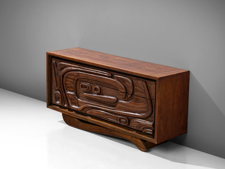 American Walnut Sideboard by Pulaski Furniture Corporation, 1960s For Sale