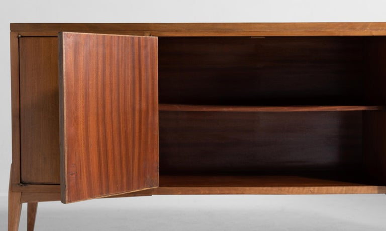 Walnut Sideboard In Good Condition For Sale In Culver City, CA