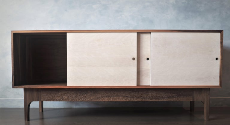 Eclipse Sideboard by MSJ Furniture Studio, Walnut Case with Sliding Beech Doors For Sale 1